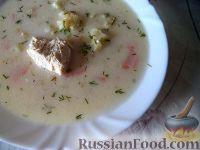 Нежный куриный суп с плавленым  сыром и овощами