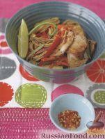 Салат пикантный из лапши и свинины