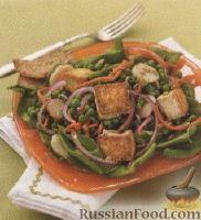 Салат из тофу, горошка и моркови