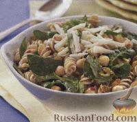Салат с макаронами, нутом и шпинатом