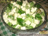 Салат с брокколи, зеленым горошком и куриным филе