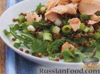 Салат из чечевицы с лососем