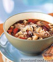 Фасолевый суп с макаронами и грибами