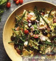 Салат с пастой, сыром и стручковой фасолью