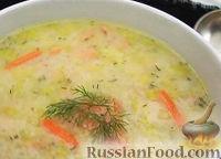 Суп с картофелем, пореем и лососем