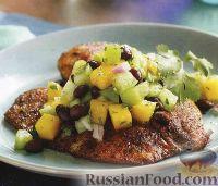 Жареная тилапия и сальса из манго и томатилло