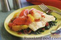Камбала с цитрусовыми и шпинатом