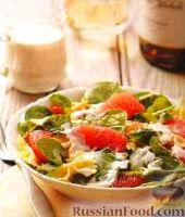 Салат из грейпфрута, с макаронами и зеленью