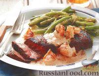 Жареные стейки с креветками и горчичным соусом