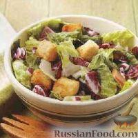 Легкий салат с крутонами