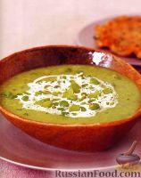 Суп из садовых бобов с жареным картофелем и мясом