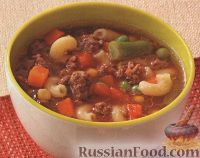 Овощной суп с фаршем и макаронами