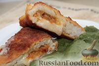 Рыбные конверты с сыром, чесноком, морковью и зеленое пюре
