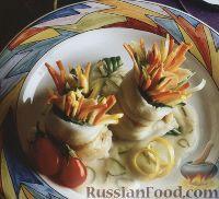Рыбные рулеты, фаршированные овощами