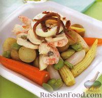Салат из овощей и морепродуктов