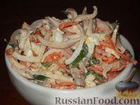 Салат из кальмаров с яйцом и корейской морковью