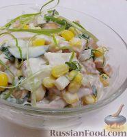 Салат из копченой курицы с кукурузой и огурцами
