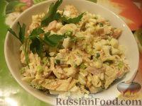 Блинный салат с копченой курицей