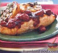 Жареный лосось с малиновым соусом