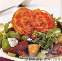 Салат из рукколы с ветчиной и свеклой