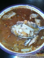 Суп из рыбных консервов, с перловкой